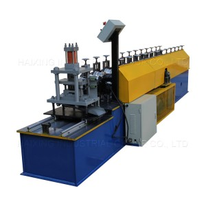 Shutter door roll forming machine hydraulic guide column cutting system